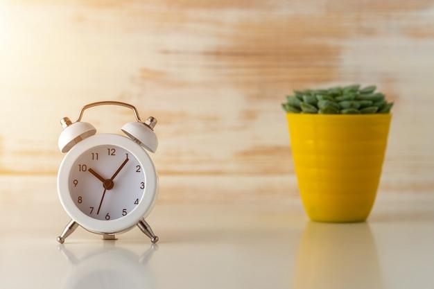 Белый будильник с кактусом в горшке на деревянном столе.