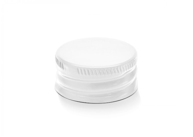 White aluminum cap of bottle in top view isolated