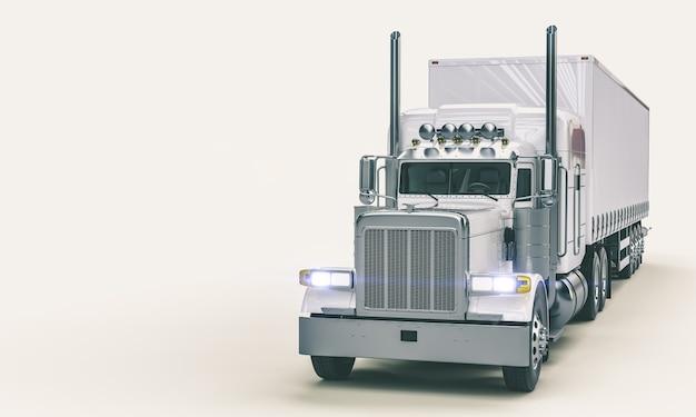 Белый американский грузовик на белом фоне.