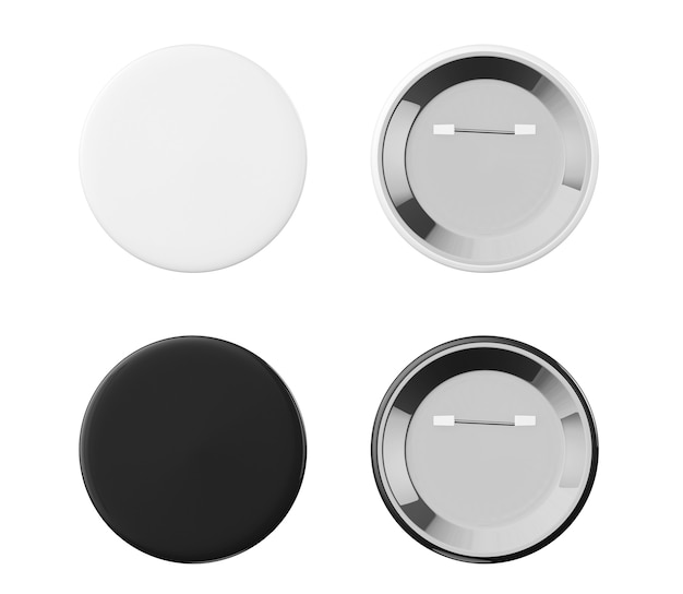 Белые и черные значки спереди и сзади на белом фоне
