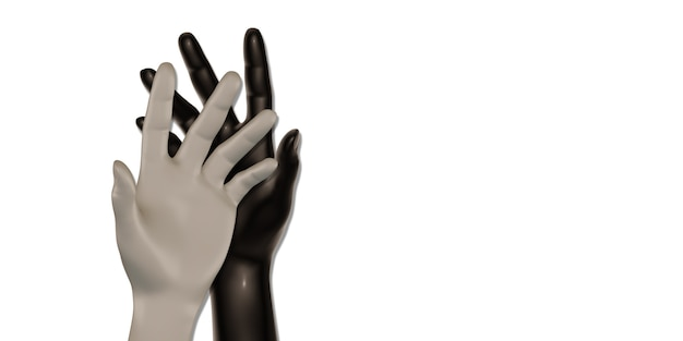 흰색과 검은 색 손