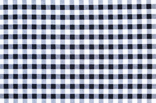 흰색과 검은 색 격자 무늬 패턴 코 튼 패브릭 질감