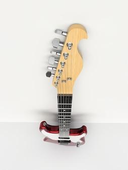 흰색 배경에 흰색과 검은색 6현 일렉트릭 기타가 벽에 기대어 있습니다. 3d 렌더링.