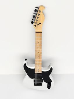 흰색 배경에 흰색과 검은색 6현 일렉트릭 기타가 벽에 기대어 있습니다. 3d 렌더링