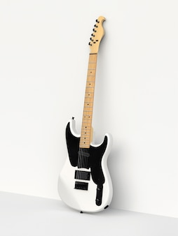Белая и черная шестиструнная электрогитара на белом фоне, прислонившись к стене. 3d-рендеринг.