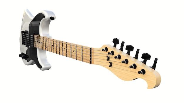 흰색 격리된 배경에 흰색과 검은색 6현 일렉트릭 기타가 있습니다. 3d 렌더링.