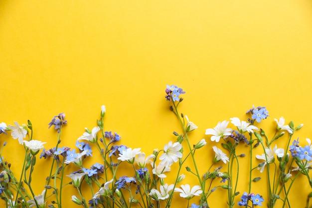 ジューシーな黄色の背景に白と青の花