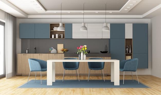 Бело-голубая современная кухня