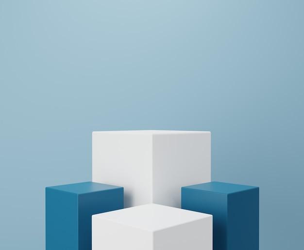 白と青の表彰台。製品の展示。 3dレンダリング