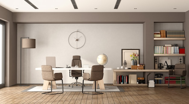 白と茶色の近代的なオフィス