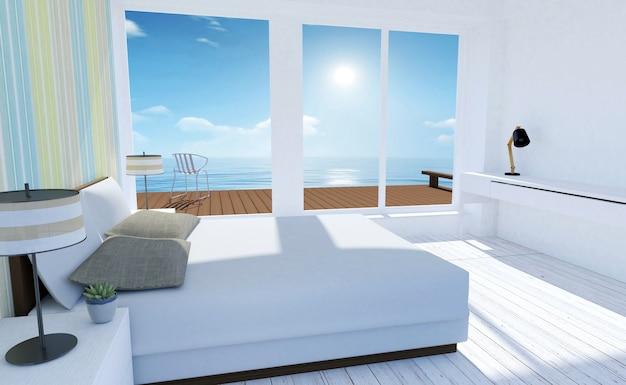 Белый и уютный минимальный интерьер спальни