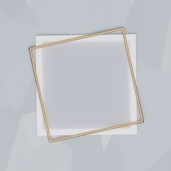 灰色の背景に白とゴールドのフレーム。プレゼンテーション、モックアップ、3dレンダリング用