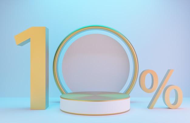 白と金の表彰台とテキスト10%、製品のプレゼンテーションと白い壁の金色のアーチ