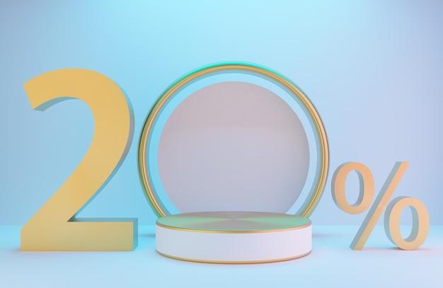 白と金の表彰台とテキスト20%、製品のプレゼンテーションと白い壁の金色のアーチ