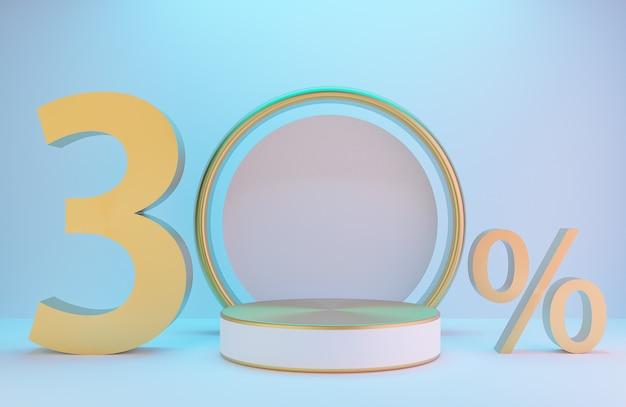 제품 프레젠테이션을 위한 흰색 및 금색 연단 및 텍스트 30%, 조명 배경 럭셔리 스타일, 3d 모델 및 일러스트레이션이 있는 흰색 벽의 황금 아치.