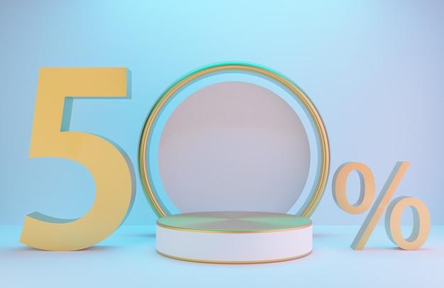 제품 프레젠테이션을 위한 흰색 및 금색 연단 및 텍스트 50%, 조명 배경 럭셔리 스타일, 3d 모델 및 일러스트레이션이 있는 흰색 벽의 황금 아치.
