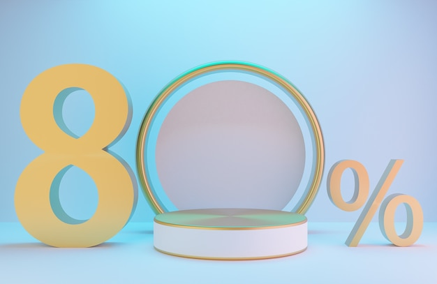 제품 프레젠테이션을 위한 흰색 및 금색 연단 및 텍스트 80%, 조명 배경 럭셔리 스타일, 3d 모델 및 일러스트레이션이 있는 흰색 벽의 황금 아치.
