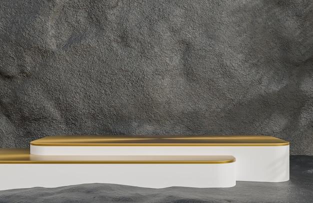 석조 벽 배경 럭셔리 스타일, 3d 모델 및 일러스트레이션에 대한 제품 프레젠테이션을 위한 흰색 및 금색 연단입니다.