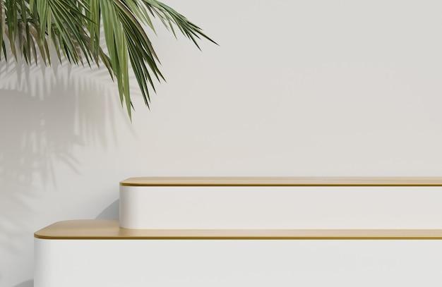 白い壁の背景と緑の葉の前景の製品プレゼンテーションのための白と金の表彰台