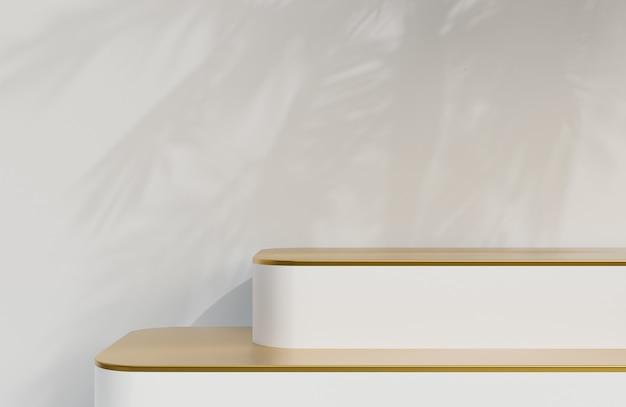 白い壁の背景に製品プレゼンテーションのための白と金の表彰台