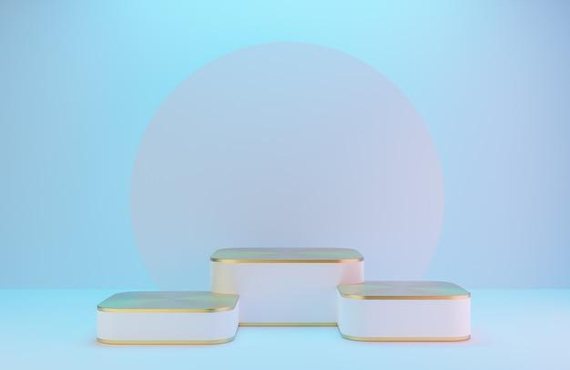 白い壁に製品を提示するための白と金の表彰台