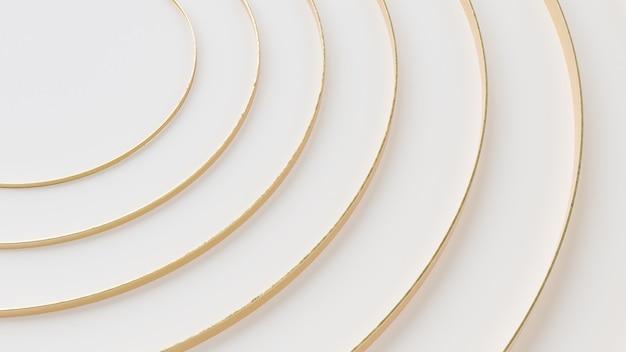 Белый и золотой круглый геометрический абстрактный фон обоев 3d визуализации