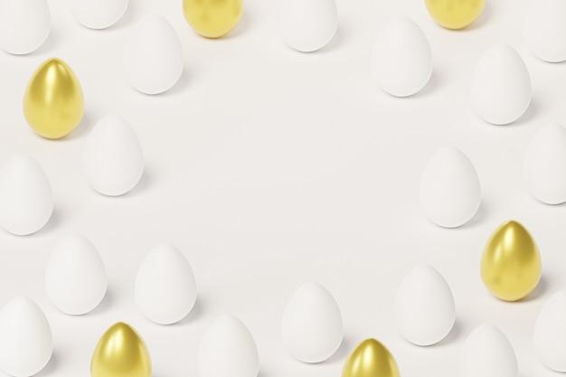 Белые и золотые пасхальные яйца, копия пространства