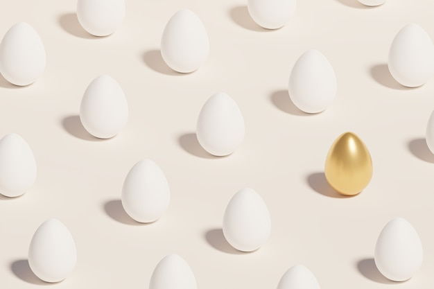 Белые и золотые пасхальные яйца