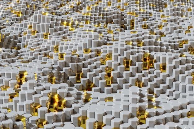 光沢のある星と白と金色の六角形のテクスチャ背景。 3 dレンダリングされた図。
