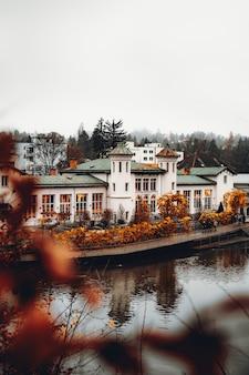낮 동안 흰색과 녹색 콘크리트 집