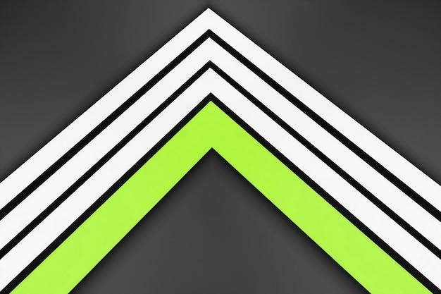 灰色の背景に白と緑のストレートストライプ。 3dラインのモダンなデザイン、ストライプの幾何学的形状の視点