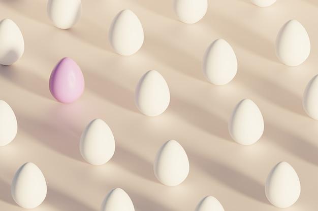 Белые и розовые пасхальные яйца