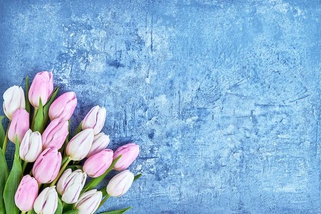 파란색 배경에 흰색과 분홍색 튤립 꽃다발입니다. 공간, 평면도를 복사합니다. 생일, 어머니의 날