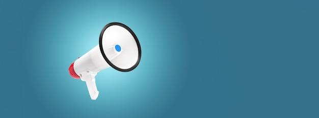 Мегафон белого и красного цвета на синем фоне с выделением в центре, объявление концепции внимания