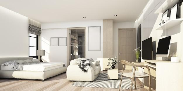 벽 장식 및 tv 캐비닛이있는 거실 공간이있는 흰색과 나무 질감 침실