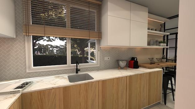 白と木製のキッチン