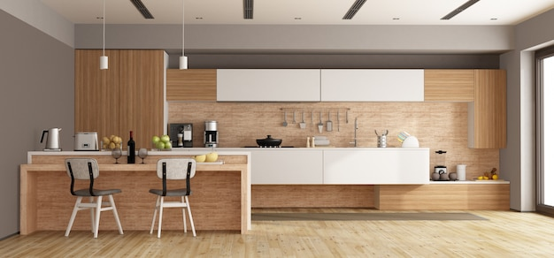 白と木製のモダンなキッチン