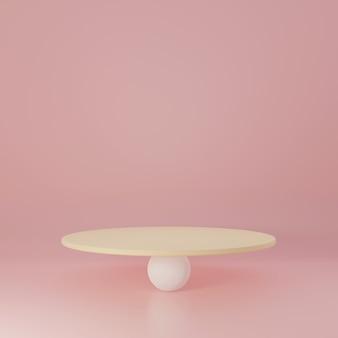 白と黄色のシリンダー製品スタンドピンクの部屋、製品のスタジオシーン、最小限のデザイン、3dレンダリング