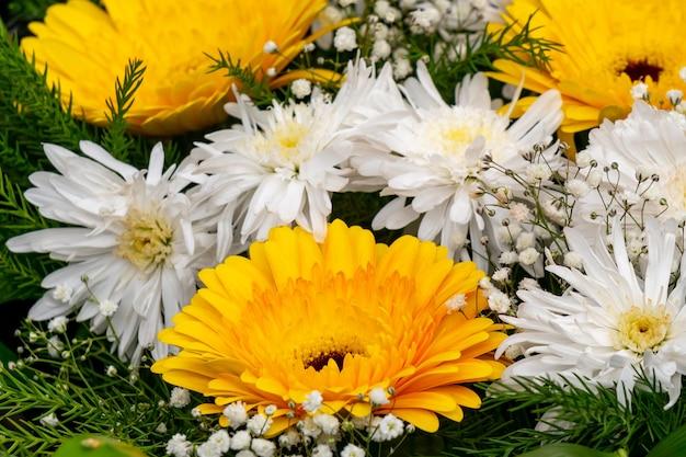 시장에서 흰색과 노란색 herbera 꽃. 선물