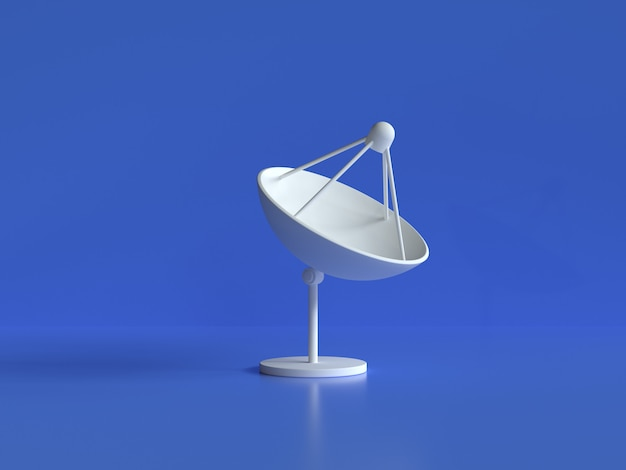 White antenna dish blue background 3d rendering