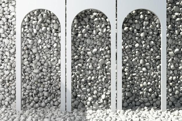 Белая арка с серой каменистой осыпью фона и 3d-рендеринга пола