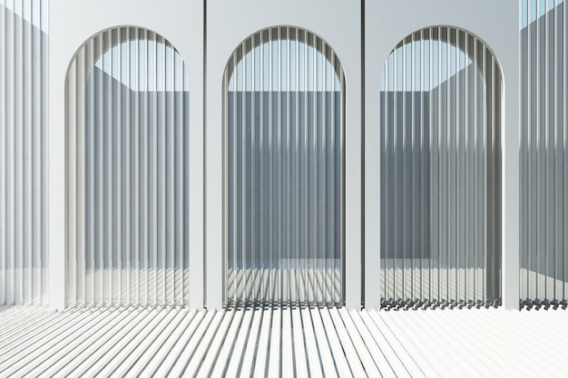 White arch with white metal sheet background and floor 3d rendering