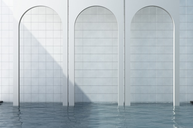 White arch with white tile background and swiming pool 3d rendering