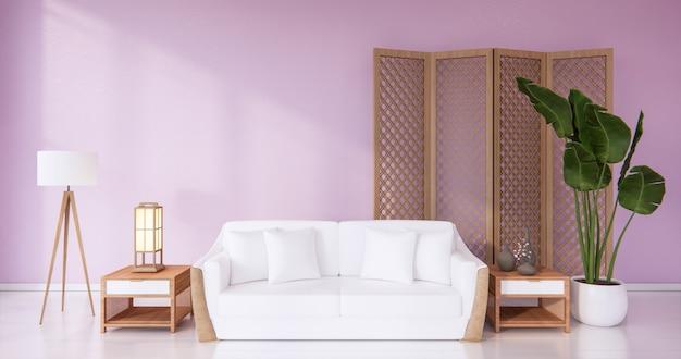 Белое кресло в гостиной, розовые стены