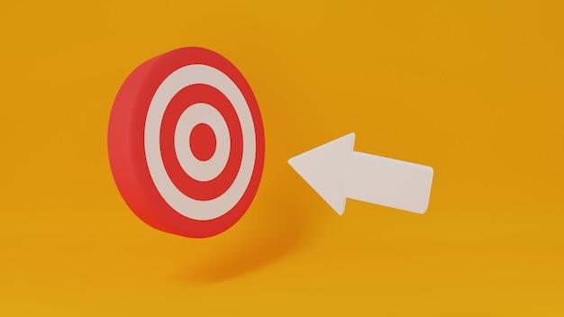 Белая стрелка из лука указывает на доску для дартса, бизнес-концепция успеха маркетинговой нацеленной цели, миссия и цель видения компании, иллюстрация 3d-рендеринга