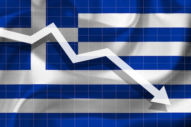 White arrow falls against the background of the flag of the greece
