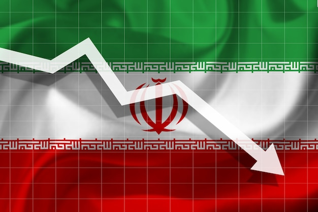 White arrow falls against the background of the flag of the iran
