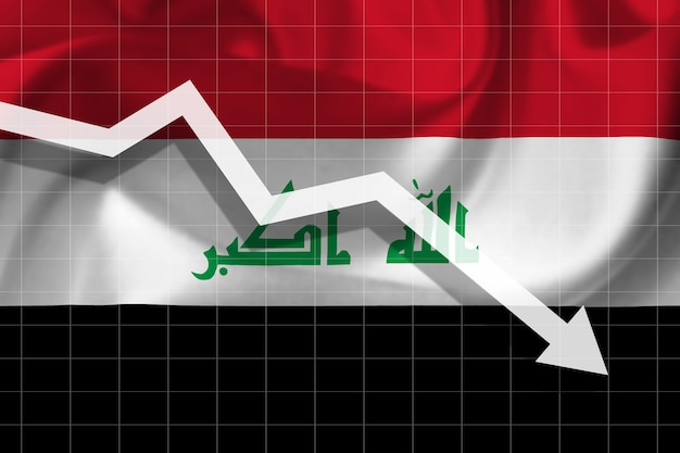 White arrow falls against the background of the flag of the iraq