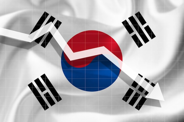White arrow falls against the background of the flag of the south korea