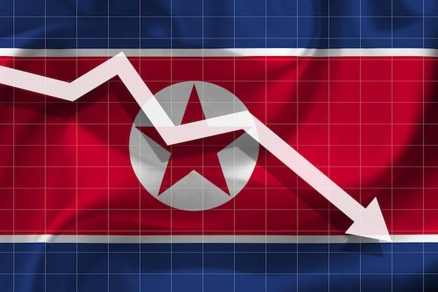 白い矢印が北朝鮮の旗を背景に落ちる
